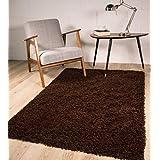 "Lujo Stockholm Color Marrón Chocolate Pelo Denso suave alfombra de pelo, polipropileno, marrón, 120cmx170cm (4ft"" x 5ft6"")"