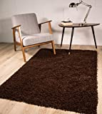 The Rug House Thick Modern Small Medium Soft Anti Shed Luxury Vibrant Shaggy Rugs - 12 Colours & 5 Sizes Available (Brown 80x150cm)