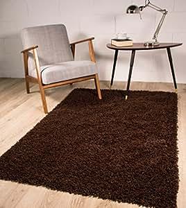 "Stockholm Luxury Chocolate Brown Dense Pile Soft Shaggy Rug 60cmx110cm (2ftx3ft7"")"