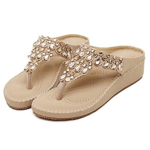 TAOFFEN Femmes Mode Compensees Sandales Clip Toe Slide Chaussures De Strass Abricot