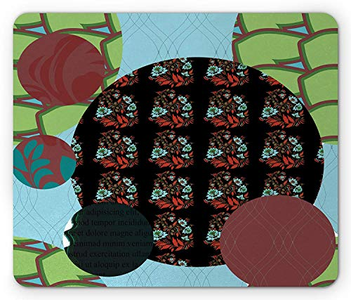 Abstract Mouse Pad, Patchwork with Geometric Forms Arabesque Lines Asian Flowers Circles Artful Motif, Standard Size Rectangle Non-Slip Rubber Mousepad, Multicolor Arabesque Flower