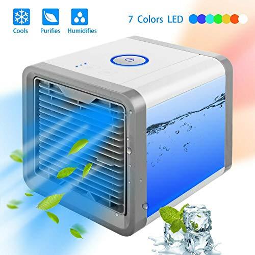 Mini Luftkühler Mobile Klimaanlage 3 in1 KlimageräTe PersöNlicher Air Cooler Ventilator Luftbefeuchter Luftreiniger Aromatherapie USB-Aufladung, leise und kompakt 7 Farben LED FüR Home Office Draussen - Home-air