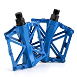 AllRight Alloy Flat-Platform Pedals For Cycling Mountain MTB BMX Bike Bicycle Bearing 9/16 Inch Blue