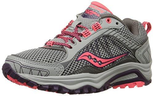Saucony Women's Excursion Tr9 Road Running Shoe, Blue/Black/Red, 10 M US Grey/Plum/Coral
