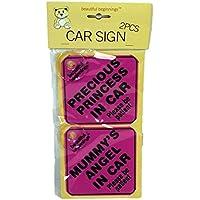 2 Pack Beautiful Beginnings Car Sign Kids Safety Baby Precious Princess Pink