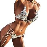 MCYs Damen Bikini Push Up Bademode Mädchen Strand Badeanzug Handgewebte Perlen Bandage Bikini Set Beige (S)