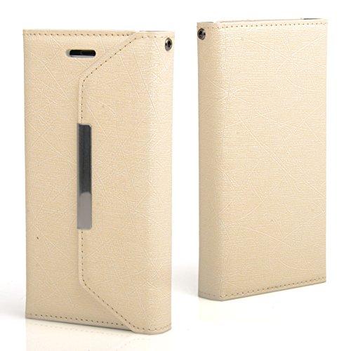 Madcase Apple iPhone SE / 5S / 5 Schutzhülle Ledertasche mit Kartenfach Premium Design Case Tasche Portemonnaie PU Leder Hülle - Orange Magic - Elfenbeinweiß