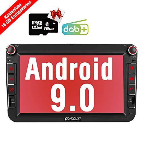 PUMPKIN Android 9.0 Autoradio für VW Radio mit Navi 16GB Europakarten/Integriertes DAB + Modul Unterstützt Bluetooth USB Android Auto WiFi 4G MicroSD 2 Din 8 Zoll Bildschirm