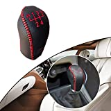 Tuqiang® Hand nähen Rutschfest Leder Schaltknauf Abdeckung Schaltgetriebe 5 Gang für Hideo 2010-2014 Auto Styling Rote Linie Typ K