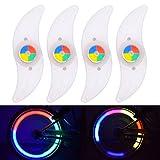 Riao-Tech 4 Stück Speichenlicht RGB Speichenrefelktoren Lichter für Fahrrad, Farbe Wechseln, 3 Leuchtmodi, inkl. Batterien