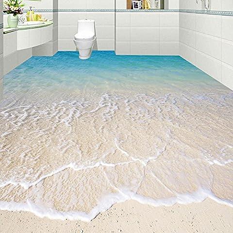 LWCX Benutzerdefinierte Selbstklebende Boden Wandmalerei Moderne Strand Seewasser 3D Boden Fliesen Aufkleber Badezimmer Küche150X105CM