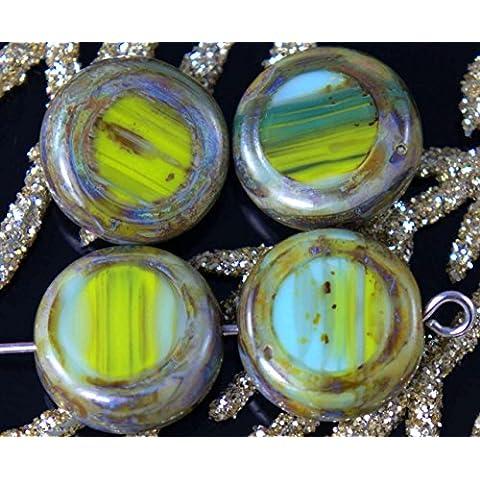 Picasso Oliva Verde, Turchese, Marrone ceca di Vetro Tonde e Piatte Moneta Perle Tabella di Taglio Tablet Forma di Boemia 12mm 6pcs