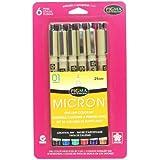 Sakura .25bolígrafos # MM Pigma Micron 01, juego de 6, negro/rojo/azul/verde/marrón y morado