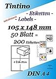 Etiketten 105 x 148 - 4 Stueck auf A4 - 50 Blatt DIN A4 selbstklebende Etiketten DHL Post 3483 6120 4476 c105148