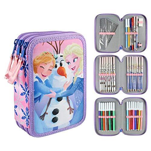 Cerdá giotto frozen astuccio triplo, 42 pezzi accessori scuola, multicolore