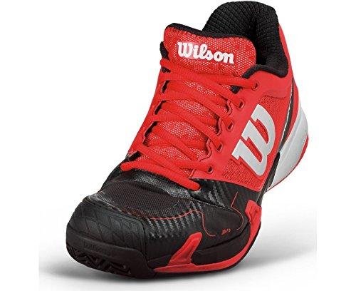 Wilson Rush Pro, Baskets Basses Mixte Adulte rouge/noir/blanc