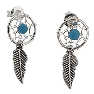 Touch Jewellery 925 Sterling Silver Dream Catcher Stud Earrings with Oxidized Detail