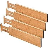 Ewendy - Cajones separadores de cajón (4 unidades, 100% bambú, ideal para cocina, cómoda, dormitorio, cajón de bebé, baño, escritorio)