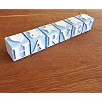 Personalised Baby name blocks - Blue PLEASE NOTE: The price is £6.50 per letter block and not per name
