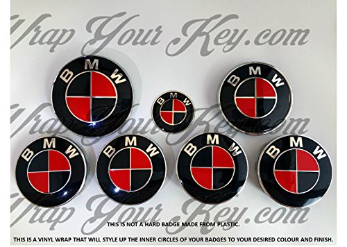 Black Fiery Red M Sport Bmw Badge Emblem Overlay Hood Trunk Rims