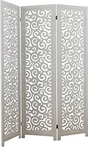 Paravent 3 panneaux ajourés bois exotique blanc motifs courbes