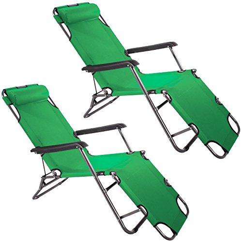 2x Smartfox Sonnenliege Gartenliege Strandliege 3 Sitz-/Liegepositionen ca. 180 cm Grün