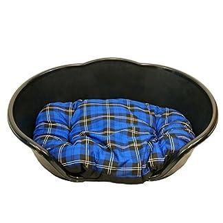 KetoPlastics MEDIUM BLACK PLASTIC DOG BED WITH BLUE TARTAN CUSHION/HEAVY DUTY PET BED - DOG/CAT/ANIMAL/SLEEP/BASKET MADE… 7