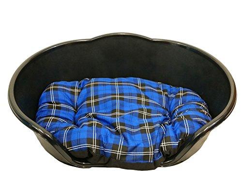 KetoPlastics MEDIUM BLACK PLASTIC DOG BED WITH BLUE TARTAN CUSHION/HEAVY DUTY PET BED - DOG/CAT/ANIMAL/SLEEP/BASKET MADE… 1