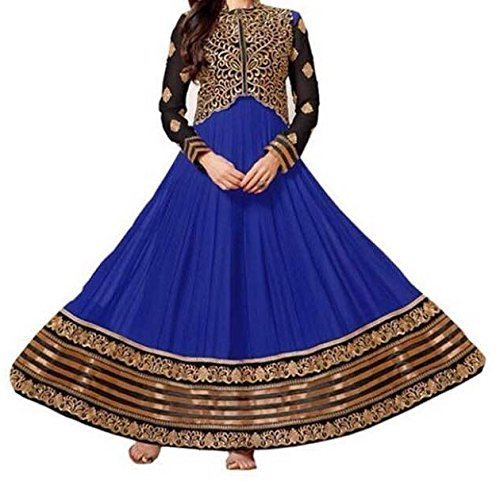 Mahavir Fashion Women\'s Blue & Gold Georgette Long Un-stitched Anarkali Type Salwar Dress Material(DRESS_1001_Freesize_k koti)