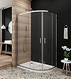 Duschkabine 120x80 Viertelkreis Schiebetür Duschabtrennung ohne Duschtasse Runddusche mit Nano Beschichtung Höhe 190cm klar