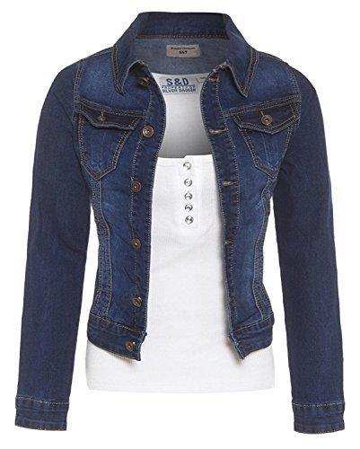 SS7 NEU Damen Jeansjacke, Indigo, sizes 8 to 14 - mittlere Waschung blau, 38