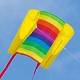 CIM Einleiner-Drachen - Beach Kite RAINBOW - für Kinder ab 6 Jahren - Abmessung: 74x47cm - inkl. 80m Drachenschnur und Streifenschwänze