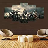 CXDM Final Fantasy Serie Bild Drucke auf Leinwand 5 Panels Wandbilder Moderne Giclee-Grafik Für Home Office-Dekorationen,B,20x35x2+20x45x2+20x55x1