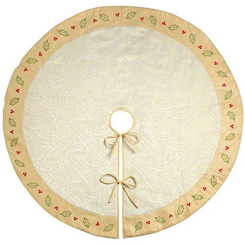 WeRChristmas–Holly y bayas decoración para base de árbol de Navidad, tela, crema,...