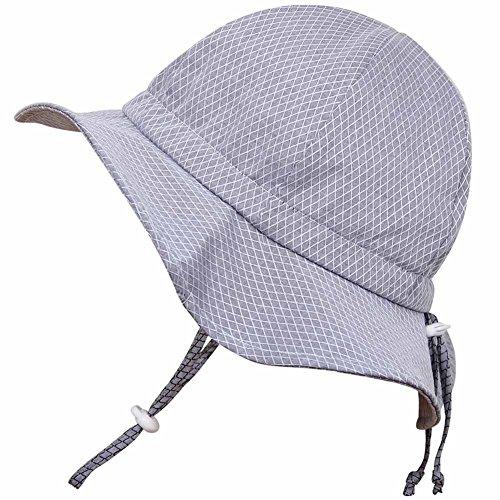 Twinklebelle Toddler Boys Girls Cotton Sun Hats 50 UPF, Drawstring Adjustable, Stay-On Tie (M: 6-30m, Floppy Hat: Grey Tiny Argyle)
