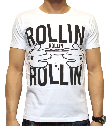 40by1, Herren T-Shirt, Rollin, Cannabis Drug Dope Weed Ganja, white, 40/1-14-025, GR L