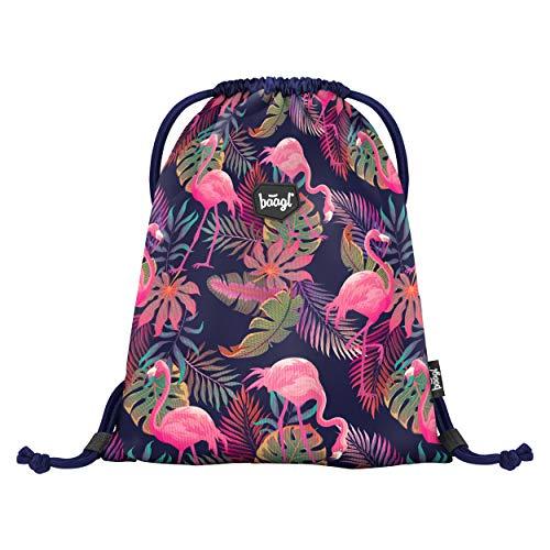 Baagl Turnbeutel für Mädchen und Damen - wasserdichte Schuhbeutel, Schule und Kindergarten Sportbeutel, Sportrucksack (Flamingo) -