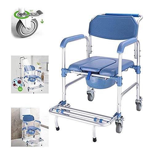 4 in 1 Kommode Stuhl/Mit Fahrbarem Toilettenstuhl/Rollstuhl Dusche Transport Stuhl/Badezimmer Bad Hocker, 4 Radbremsen (360 °) / Faltbare Mobile Toilette Ältere Behinderte Person 250 Pfund ,Blau -