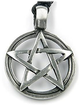 Pentagramm Schmuck Amulett Kette Länge mit Hänger: 4cm inkl Band, Drudenfuß Biker Kette Anhänger