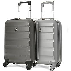 Aerolite ABS Bagage Cabine Bagage à Main Valise Rigide Légere à pour Ryanair Easyjet Air France et Plus, Set de 2 Valises, Argent + Gris Foncé