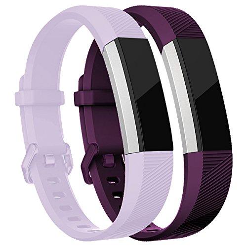 HUMENN Für Fitbit Alta HR Armband, Verstellbares Sport Ersatz Band Ersatzarmband Wristband Silikonarmband Fitness Zubehörteil mit Metallschließe Klein Lavendel,Pflaume