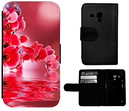 Flip Cover Schutz Hülle Handy Tasche Etui Case für (Apple iPhone 5 / 5s, 1391 Fussball Fußball Schwarz Weiß Blau) 1390 Rote Orchidee Blume