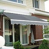 CASART 3x2.5M Manual Awning Retractable Canopy Sun Shade Shelter Waterproof Garden Patio Outdoor (Grey)