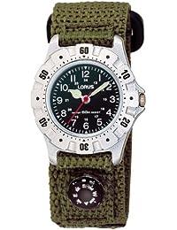 Lorus RG213BX9 - Reloj analógico de cuarzo para mujer con correa de tela, color verde