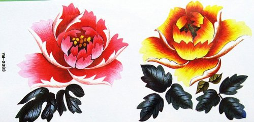 Fleurs de couleurs autocollant de tatouage imperméable à l'eau et les roses
