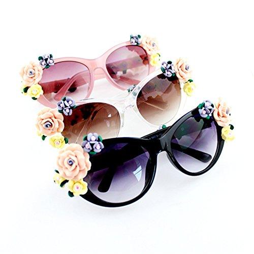 2017 Neustes Design Damen Sonnenbrillen und buntes Rahmen mit Blume und frei Brillenetuis (Weiß)