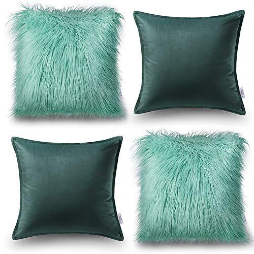 Oreiller Quatre Pièces En Coton De Couleur Unie Housse De Coussin De Canapé Salon Peluche Velvet Core Oreiller (Couleur : Vert, taille : 60 * 60cm)
