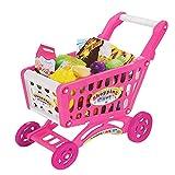 Children Shopping Trolley Cart Play Food Set Kids Pretend Shop Push Along Toy (56 pcs Pink Shopping Cart)