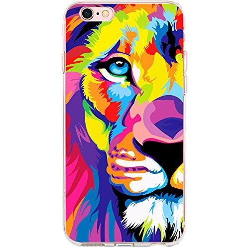 Girlscases® | iPhone 6-6S Hülle | Fashion Case Schutzhülle im Löwen Motiv Muster | in bunt | Fashion Case transparente Schutzhülle aus Silikon