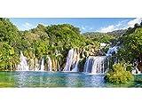 Unbekannt Puzzle 4000 Teile - Wasserfall im Nationalpark Krka - Panorama Panoramapuzzle - Wasserfälle in Kroatien - Foto Landschaft Fluß Park See Landschaften Berge